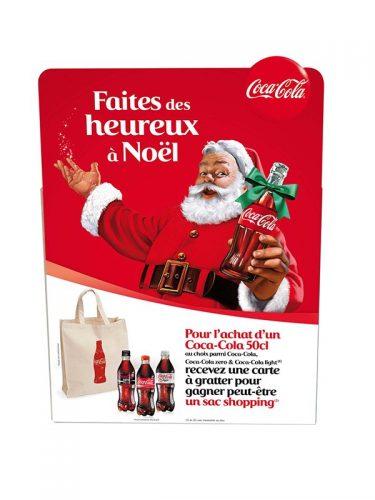 Panneau PLV chevalet grand format - PLV Coca Cola - PLV carton sur mesure - PLV de théâtralisation de l'offre et du point de vente - PLV Noël