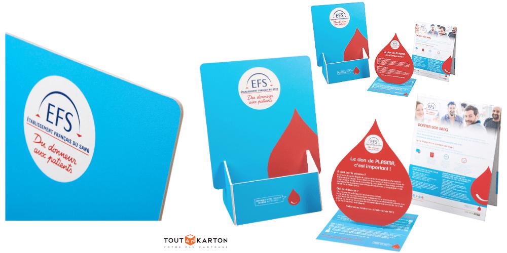 Kit PLV de comptoir pour l'Etablissement français du sang, secteur santé publique, réseau des collectivités et pharmacies d'officine