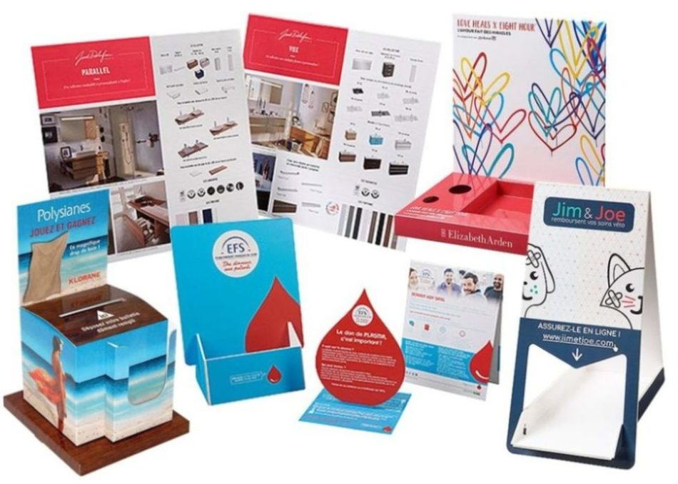Sélection de présentoirs plv de comptoir en carton fabriqués par Toutankarton