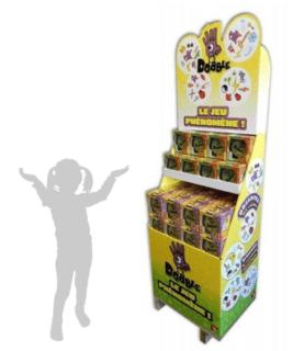 Présentoir jeux de société - Box PLV carton à étagères avec fronton - PLV de sol sur mesure