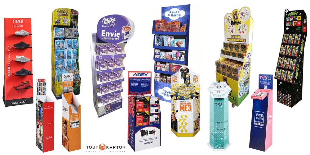 Galerie de PLV de sol, présentoir en carton : box et display pour produits et documents publicitaires