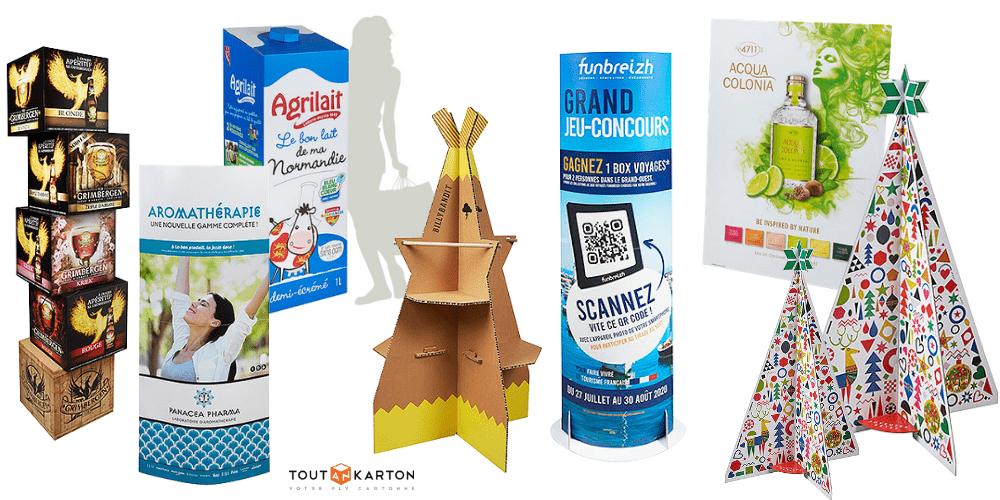 PLV Présentoir en carton sur mesure made in France par Toutankarton : totem, display, chevalet, théâtralisation