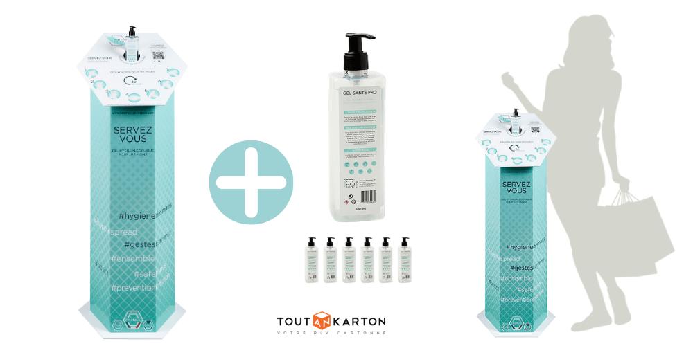 Totem distributeur de gel hydroalcoolique pour magasin entreprise pharmacie cabinet médical clinique école - Totem PLV personnalisable