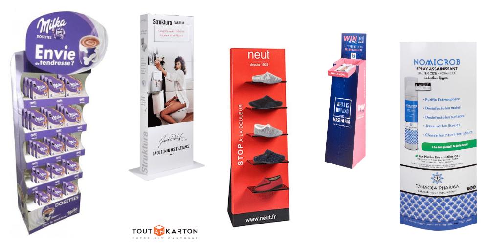 Présentoir PLV carton sur mesure adaptées à chaque réseau de distribution : grande distribution, boutique, pharmacie, magasin professionnel