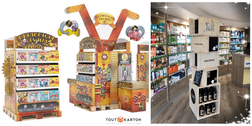 Shop in shop PLV carton sur mesure pour la grande distribution, corner PLV en bois pour cosmétique naturel vendu en vrac en pharmacie d'officine